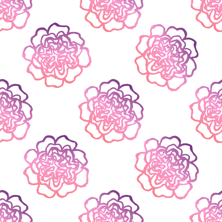 Seamless pattern with handdrawn peonies. Living coral and deep violet colors. Suitable for packaging, wrappers, fabric design. Vector illustration