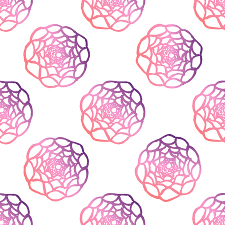 Seamless pattern with hand drawn ranunculus. Living coral and deep violet colors. Suitable for packaging, wrappers, fabric design. Vector illustration