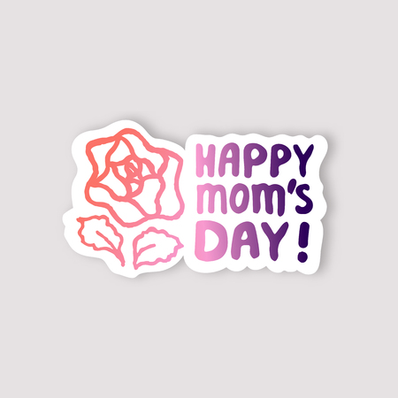 Sticker with Mothers Day Hand Lettering Text and Rose