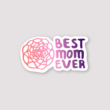 Sticker with Mothers Day Hand Lettering Text and Ranunculus