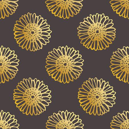 Seamless Pattern With Hand Drawn Gerberas on Black Background Ilustracja