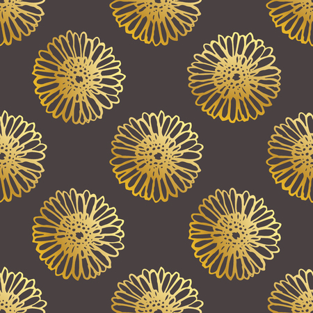Seamless Pattern With Hand Drawn Gerberas on Black Background Illustration