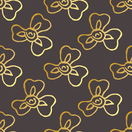 Seamless pattern with hand drawn irises. Golden flowers on black background. Suitable for packaging, wrappers, fabric design. Vector illustration.