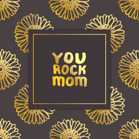 Mother's Day Card with Hand Lettering Text and Gerberas. You Rock Mom Illustration