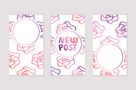 Set of social media stories templates. Floral gradient background. New post