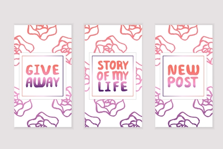 Set of social media stories templates with floral background