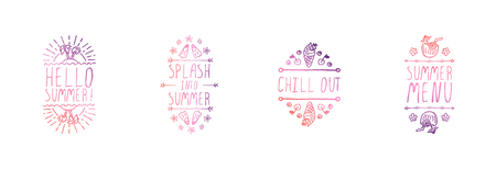 Set of Hand Drawn Summer Slogans Isolated on White