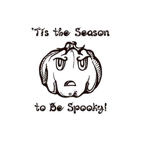 Halloween hand drawn pumpkin with handwritten phrase