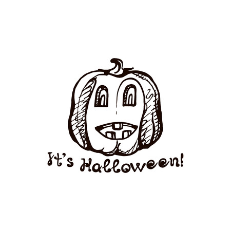 Halloween hand drawn pumpkin with handwritten phrase isolated on white background. Inscription: Its Halloween 일러스트