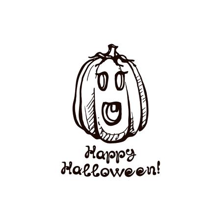 Halloween handdrawn pumpkin with handwritten phrase isolated on white background. Inscription: Happy Halloween
