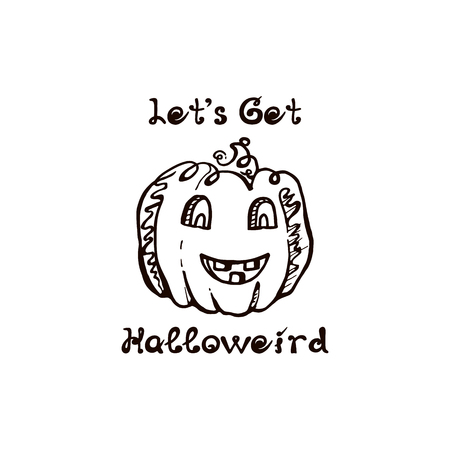 Halloween hand drawn pumpkin with handwritten phrase 일러스트