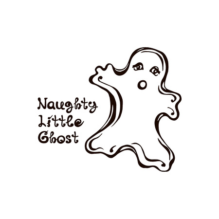 Halloween Hand Drawn Ghost with Phrase Isolated on White Background