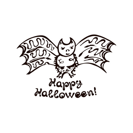 Halloween Hand Drawn Bat with Phrase Isolated on White Background