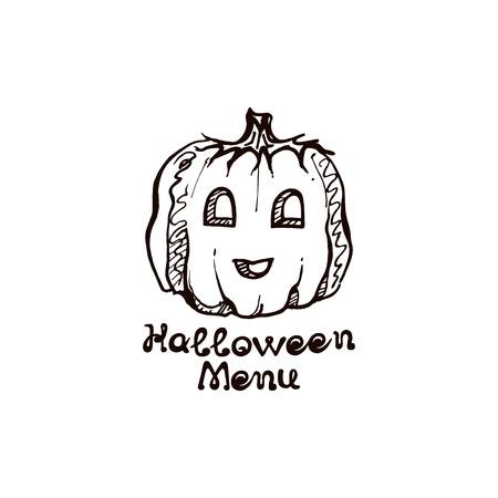 Halloween hand drawn pumpkin with handwritten phrase Иллюстрация