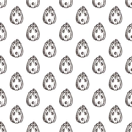 Halloween seamless pattern with handdrawn pumpkins on white background Stockfoto - 132017025