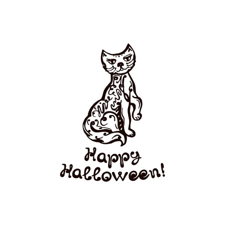 Halloween Hand Drawn Cat with Phrase