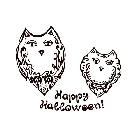Halloween Hand Drawn Owls with Phrase
