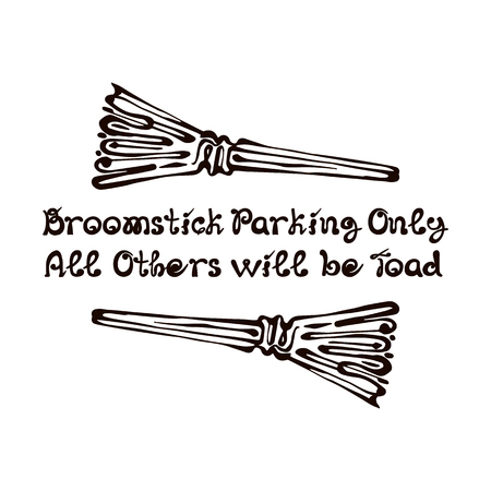 Halloween Hand Drawn Brooms with Phrase