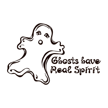 Halloween Hand Drawn Ghost with Phrase