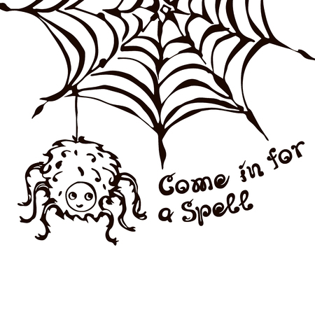 Halloween Hand Drawn Spider on the Web with Phrase