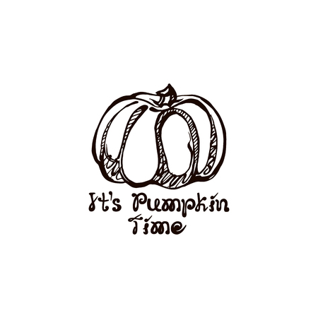 Autumn hand drawn pumpkin with lettering isolated on white
