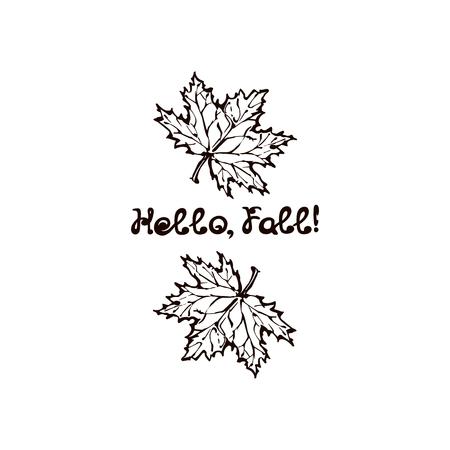 Hand Drawn Maple Leaves with Handwritten Text Иллюстрация