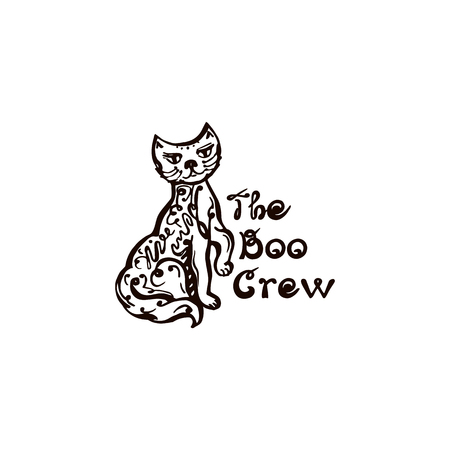 Halloween Hand Drawn Cat with Phrase on white background