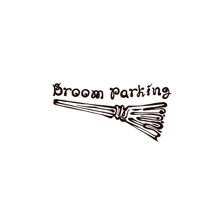 Halloween Hand Drawn Broom with Phrase on white background Çizim