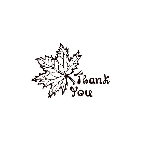 Hand Drawn Maple Leaf with Handwritten Text