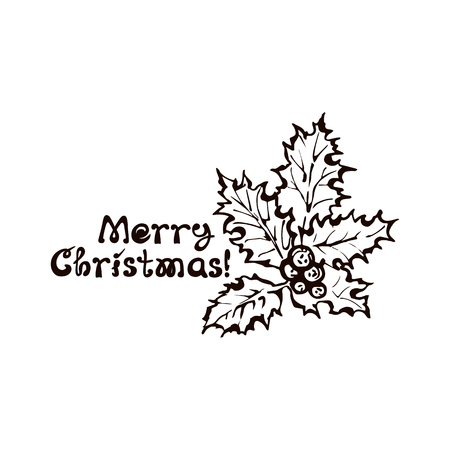 Hand Drawn Holly Berry Leaves with Handwritten Text