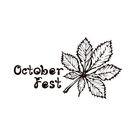 Hand Drawn Chestnut Leaf with Handwritten Text