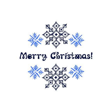Christmas greeting card with hand drawn snowflakes