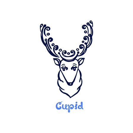 Hand drawn Christmas deer Cupid isolated on white
