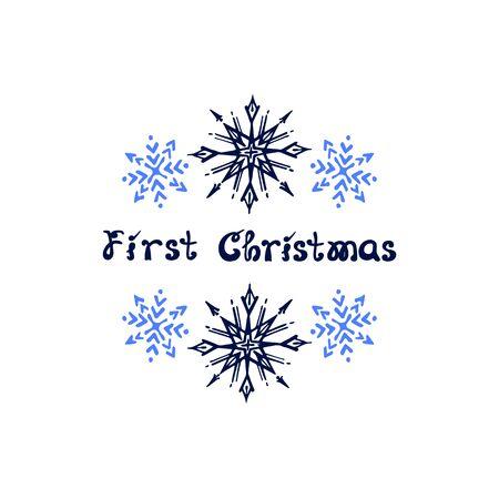 Christmas greeting card with hand drawn snowflakes Ilustração Vetorial