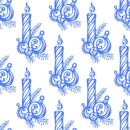 Seamless pattern with hand drawn Christmas candle and tree decoration on white background. Suitable for packaging, wrappers, fabric design