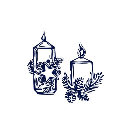 Hand drawn Christmas candles isolated on white background