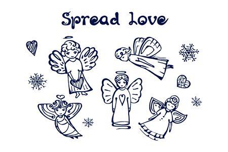 Ensemble d'hiver dessiné à la main avec des anges et du texte manuscrit Vecteurs