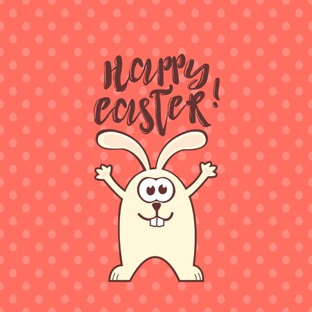 Easter greeting card with cute rabbit and text on living coral seamless pattern background with eggs. Inscription: Happy Easter Vetores