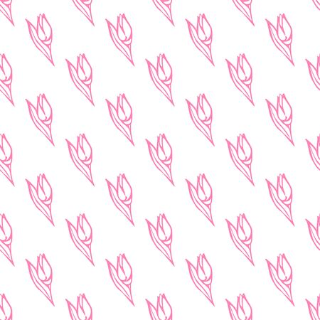 Seamless pattern with hand drawn pink flowers on white background