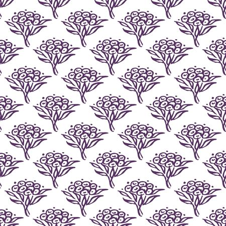 Seamless pattern with hand drawn violet flowers on white background 向量圖像