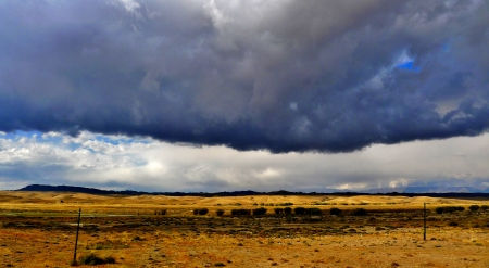 wastelands: Dramatic storm clouds over endless Wilderness in countryside landscape, xinjiang, China