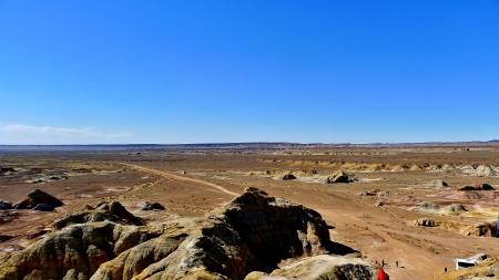landform: Yardang Landform site Colorful city - Wucaicheng, Located in Xinjiang, China