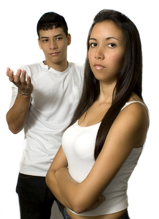 disagreement: young couple unhappy
