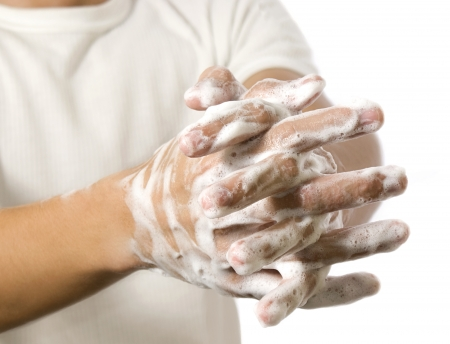 soaping: washing hands