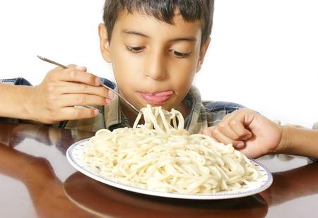 eating pasta photo