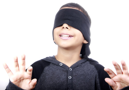 blind child: ready or not here i come Stock Photo