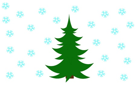 Green xmas tree on the snowflake background