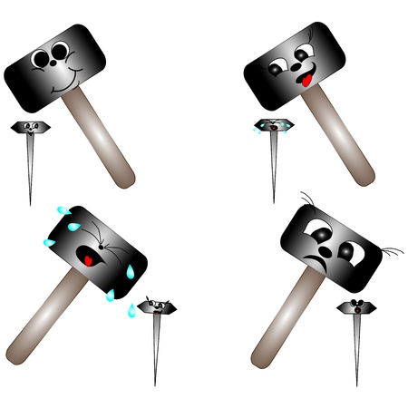 Set of smileys  Hammer and nail Stock Vector - 17547994