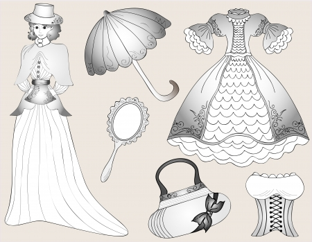 Vintage fashion set  vector