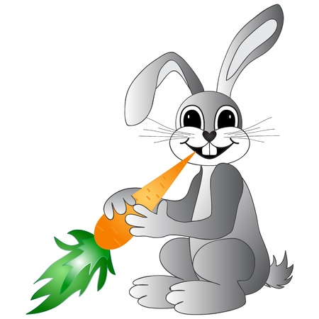 Easter bunny with carrot Stock Vector - 18349942